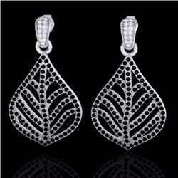 Natural 2.50 CTW Micro Pave Black & White Diamond Earrings Designer IN 18K White Gold - 21149-REF#-1