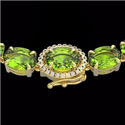 Natural 80 CTW Peridot & Diamond Tennis Micro Pave Halo Necklace 14K Yellow Gold - 23471-REF#-283Y4Z
