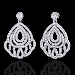 Natural 3 CTW Micro Pave Diamond Certified Earrings Designer IN 18K White Gold - 21147-REF#-224X8T