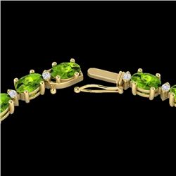 Natural 34 CTW Peridot & Diamond Certified Tennis Necklace 10K Yellow Gold - 21600-REF#-177Z9R