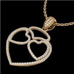 Natural 1.20 CTW Micro Pave Diamond Designer Heart Necklace 14K Yellow Gold - 22548-REF#-89Z2R