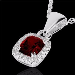 Natural 1.25 CTW Garnet & Micro Pave Diamond Certified Halo Necklace 10K White Gold - 22883-REF#-19Z