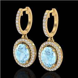 Natural 3.25 CTW Aquamarine & Micro Pave Diamond Earrings Solitaire Halo 18K Yellow Gold - 20312-REF