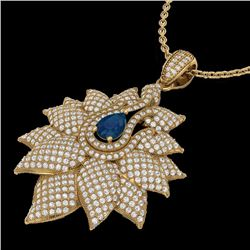 Natural 3 CTW Sapphire & Micro Pave Diamond Designer Necklace 18K Yellow Gold - 22566-REF#-186K8W