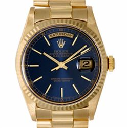 Pre-owned Excellent Condition Authentic Rolex Quickset Men's 18K Yellow Gold Day-Date Blue Dial Watc