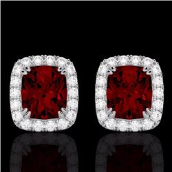 Natural 2.50 CTW Garnet & Micro Pave Diamond Certified Halo Earrings 10K White Gold - 22863-REF#-31Z