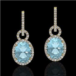 Natural 6 CTW Aquamarine & Micro Pave Solitaire Halo Diamond Earrings 14K Yellow Gold - 22730-REF#-1
