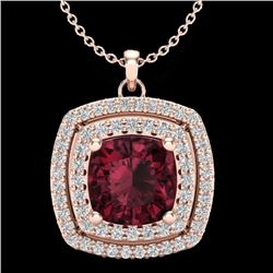 Natural 1.50 CTW Garnet & Micro Pave Diamond Certified Halo Necklace 14K Rose Gold - 20456-REF#-40H3