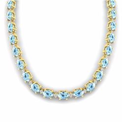 37.50 CTW AQUAMARINE & DIAMOND SI-I CERTIFIED ETERNITY TENNIS NECKLACE - 29418-#348N3G