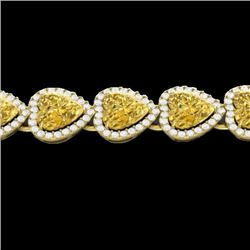 Natural 23 CTW Citrine & Micro Pave Bracelet Heart Halo IN 14K Yellow Gold - 22614-REF#-260V3Y