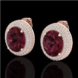 Natural 9 CTW Garnet & Micro Pave Diamond Certified Earrings 14K Rose Gold - 20225-REF#-99A5X