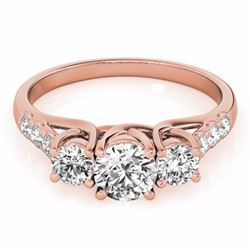 0.75 CTW Certified SI-I Diamond 3 stone Bridal  Ring 18K Rose Gold - 28078-#77N2F