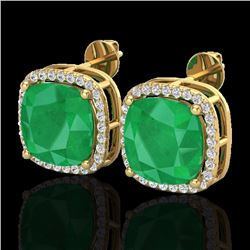Natural 12 CTW Emerald & Micro Pave Halo Diamond Earrings Solitaire 18K Yellow Gold - 23062-REF#-84H