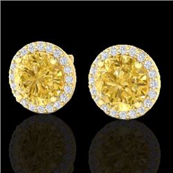 Natural 4 CTW Citrine & Halo Diamond Micro Pave Earrings Solitaire 18K Yellow Gold - 21487-REF#-50V7
