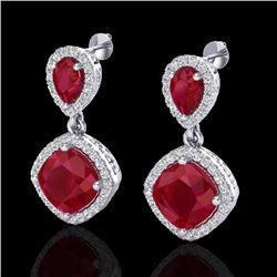 Natural 7 CTW Ruby & Micro Pave Diamond Certified Earrings Designer Halo 10K White Gold - 20207-REF#