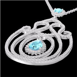 Natural 3.20 CTW Sky Blue Topaz & Micro Diamond Heart Designer Necklace 14K White Gold - 22443-REF#-