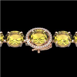 Natural 40 CTW Citrine & Micro Pave Diamond Halo Designer Bracelet 14K Rose Gold - 22254-REF#-125N7A