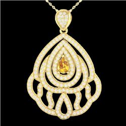 Natural 2 CTW Yellow Sapphire & Micro Diamond Designer Necklace IN 18K Yellow Gold - 21278-REF#-123Z