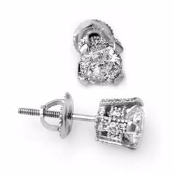 Natural 1.0 ctw Diamond Solitaire Stud Earrings 18K White Gold - 10504-#90H7W