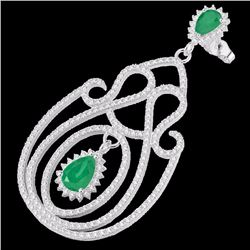 Natural 6.40 CTW Emerald & Micro Pave Diamond Certified Earrings 14K White Gold - 22425-REF#-243T4K