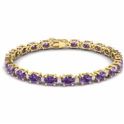 19.70 CTW AMETHYST & DIAMOND SI-I CERTIFIED ETERNITY TENNIS BRACELET - 29359-#78T7G