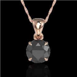 Natural 2 CTW Black Diamond Designer Inspired Solitaire Necklace 14K Rose Gold - 22014-REF#-40G2N
