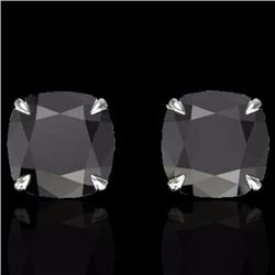 Natural 6 CTW Cushion cut Black Diamond Designer Solitaire Stud Earrings 18K White Gold - 21735-REF#