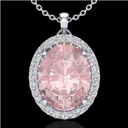 Natural 2.75 CTW Morganite & Micro Diamond Halo Solitaire Necklace 18K White Gold - 20593-REF#-70W5G