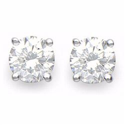 Genuine 2.0 ctw Diamond Solitaire Stud Earrings 18K White Gold - 13539-#448G8R