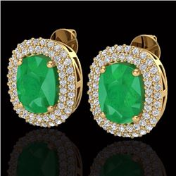 Natural 6.30 CTW Emerald & Micro Pave Diamond Certified Halo Earrings 18K Yellow Gold - 20121-REF#-9