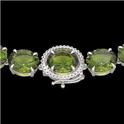 Natural 122 CTW Green Tourmaline & Diamond Halo Micro Eternity Necklace 14K White Gold - 22300-REF#-
