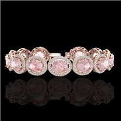 Natural 17 CTW Morganite & Micro Pave Diamond Certified Bracelet 10K Rose Gold - 22692-REF#-307Z7R