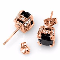 Natural 3.75 ctw Black & White Diamond Solitaire Stud Earrings 14K Rose Gold - 11854-#66F7M