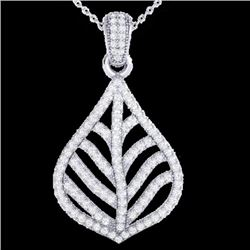 Natural 1.25 CTW Micro Pave Diamond Certified Necklace Designer IN 18K White Gold - 21285-REF#-78Z9R
