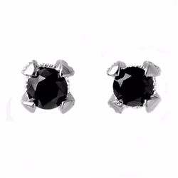 Natural 1.0 ctw Black & White Diamond Solitaire Earrings 14K White Gold - 11800-#28A3N