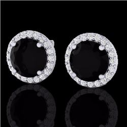 Natural 4 CTW Halo Black Diamond Certified Micro Pave Earrings Solitaire 18K White Gold - 21480-REF#
