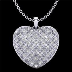 Natural .75 Designer CTW Micro Pave Diamond Certified Heart Earrings 14K White Gold - 20490-REF#-43V