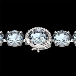 Natural 40 CTW Aquamarine & Micro Diamond Halo Designer Bracelet 14K White Gold - 22252-REF#-299W7G