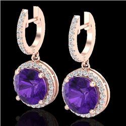 Natural 4 CTW Amethyst & Micro Pave Diamond Certified Designer Halo 14K Rose Gold - 23176-REF#-56F8V