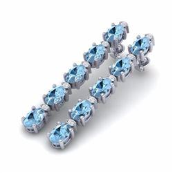 12.47 CTW AQUAMARINE & DIAMOND SI-I CERTIFIED TENNIS EARRINGS - 29472-#114Y2Z