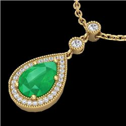 Natural 2.75 CTW Emerald & Micro Pave Diamond Certified Necklace 18K Yellow Gold - 23134-REF#-38A7X