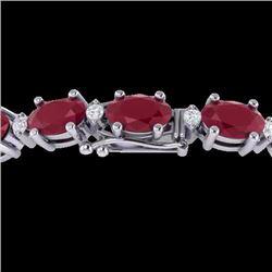 Natural 15 CTW Ruby & Diamond Certified Eternity Bracelet 10K White Gold - 21457-REF#-67Y8Z