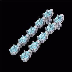 Natural 6 CTW Sky Blue Topaz & Diamond Certified Tennis Earrings 10K White Gold - 21515-REF#-27Z2R