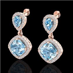 Natural 7 CTW Sky Blue Topaz & Micro Diamond Certified Earrings Halo 10K Rose Gold - 20199-REF#-74F7
