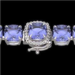 Natural 40 CTW Tanzanite & Micro Pave Diamond Halo Bracelet 14K White Gold - 23324-REF#-402M3F