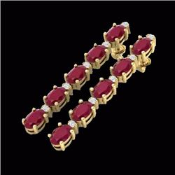Natural 7 CTW Ruby & Diamond Certified Tennis Earrings 10K Yellow Gold - 21530-REF#-33Z8R
