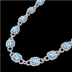 Natural 66 CTW Topaz & Micro Diamond Certified Eternity Necklace 14K White Gold - 23052-REF#-594Z8R