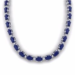 55.50 CTW SAPPHIRE & DIAMOND SI-I CERTIFIED ETERNITY TENNIS NECKLACE - 29433-#213T3X
