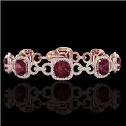 Natural 30 CTW Garnet & Micro Diamond Certified Bracelet 14K Rose Gold - 23024-REF#-267K7W