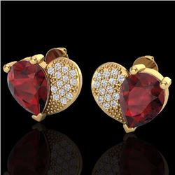 Natural 2.50 CTW Garnet & Micro Pave Diamond Certified Earrings 10K Yellow Gold - 20076-REF#-25Z5R